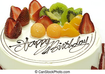 Birthday cake - Tasty colorful fruit cake with happy...