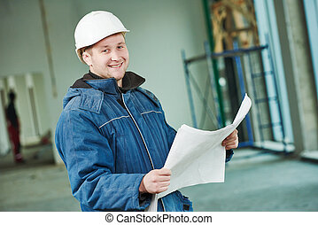 Construction builder foremaster - young male engeneer worker...
