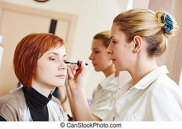 makeup eye mascara application - Makeup technique. mascara...