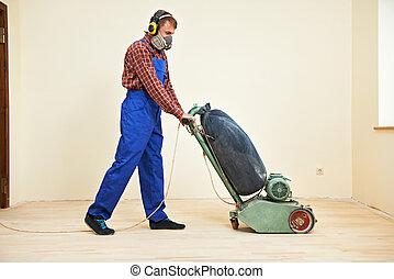 Parquet Floor maintenance by grinding machine - carpenter...