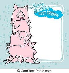 Felice, compleanno, maiali, mazzo