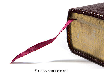 Bible Bookmark - Bible corner with fuchsia colored bookmark...