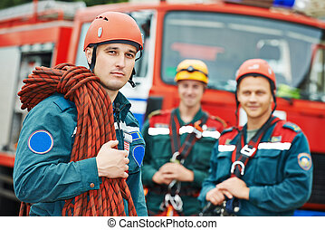 bomberos, equipo,