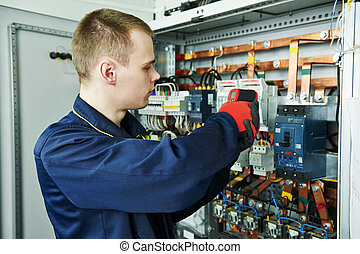 electrician engineer worker - electrician inspector cheching...