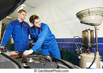 car maintenance, oil and filter replacing