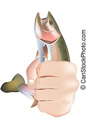 Sport fishing symbol trout fishing with hand