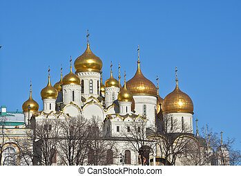 Golden domes of churches in the Moscow Kremlin - Sights of...