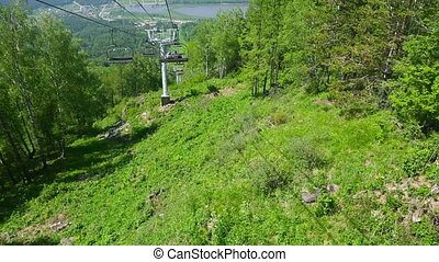 Cableway - Aerial view from the cable car seat, mountain...