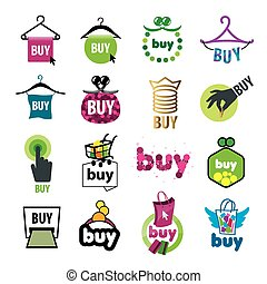 big set of vector logos for the purchase of goods
