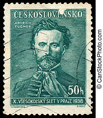 Stamp printed in Czechoslovakia shows Jindrich Fugner -...