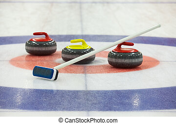 Curling rocks on ice - Stone for game in curling on ice
