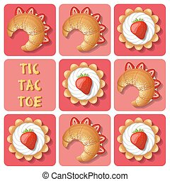 Tic-Tac-Toe of tart and croissant - Illustration of cream...