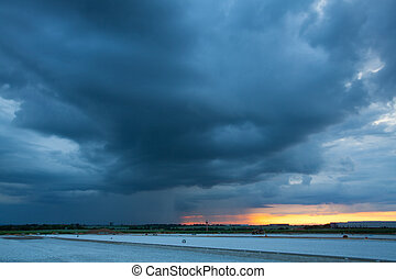 Before heavy storm at sunset - Before heavy storm near the...