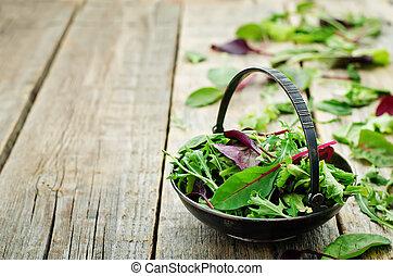 mix salad Romaine, arugula, spinach, mizuna, chard, oak...