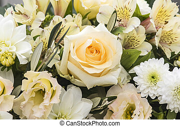 Flower bouquet with roses and freesia