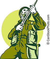 world war two british Soldier with rifle - illustration of a...