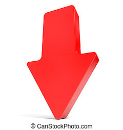 Red arrow down. 3D illustration.