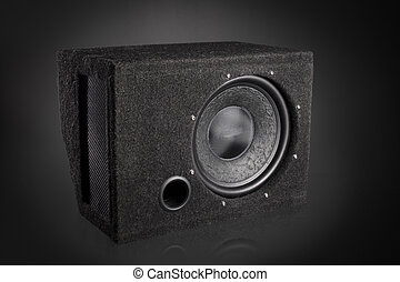 Black subwoofer speaker car audio music system - Low bass...