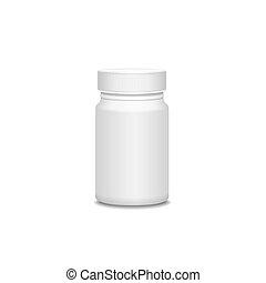 blanco, Medicina, botella, aislado, en, white., ,