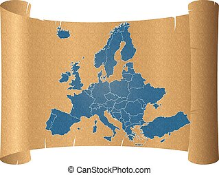 parchment europe - illustration of europe chart on the...