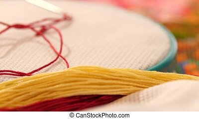 Hoop with embroidery, confidant, threads and floss, close up...