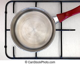 Stove Top - A cooking pot isolated on a stove top