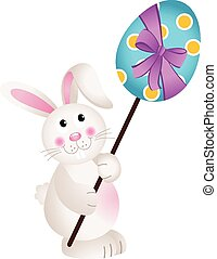 Cute Bunny Carries Easter Egg - Scalable vectorial image...