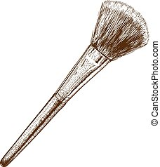 illustration of make-up brush - Vector engraving antique...