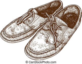 engraving  illustration of shoes