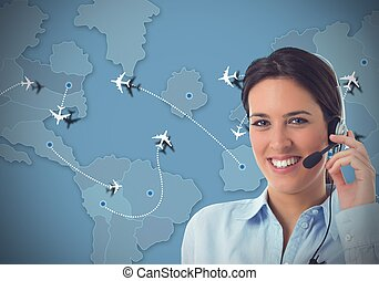 Airlines call center - Worker in a call center for airlines