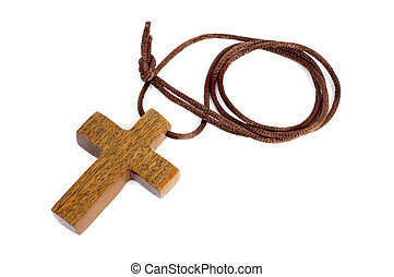 wooden Christian cross - a simple wooden Christian cross on...