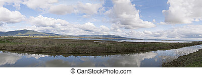 Panorama of the natural oasis - Wide panoramic view of a...