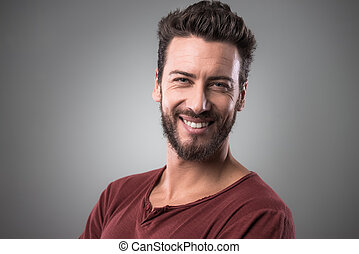 Cheerful man portrait - Cheerful smiling young man portrait...