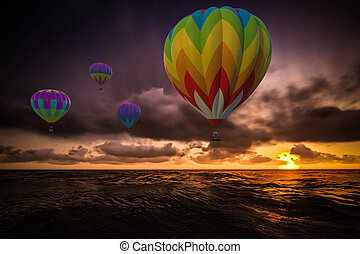 Colorful Hot Air Balloons over sea
