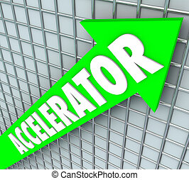 Accelerator Green Arrow Grid Faster Speed Facilitate Growth...