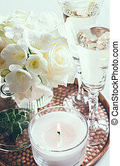 wedding home decor - Bouquet of white flowers in a vase,...