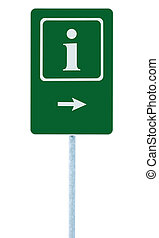 Info sign in green, white i letter icon and frame, right hand