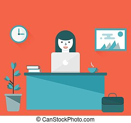 Vector illustration of businesswoman working at computer -...