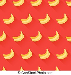 Seamless pattern with bananas on red background. Trendy flat...