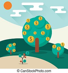 Money trees - A conceptual illustration of a trees growing...
