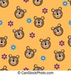 Vector seamless pattern with funny bears and flowers Design...