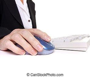 Arthritic worker - Older senior business woman\'s arthritic...