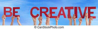 人們, 手, 藏品, 紅色, 直接, 詞, 是, 創造性,...