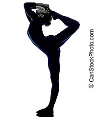 woman Natarajasana dancer pose yoga silhouette