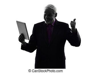senior business man digital tablet silhouette