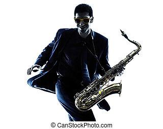 saxofone, homem, silueta, tocando,  Saxophonist