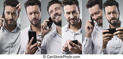 Businessman on the phone, photo collage - Businessman having...