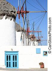 風車, 上, a, 山坡, 近, the, 海, 在, Mykonos, 島,...