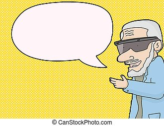 Virtual Reality Man with Word Bubble