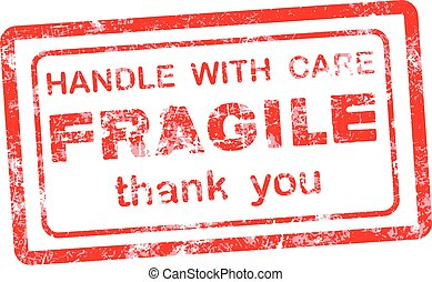 FRAGILE  HANDLE WITH CARE thank you grungy red rubber stamp